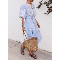 Lace/Print/Striped 1/2 Sleeves A-line Skater Casual/Vacation Midi Dresses