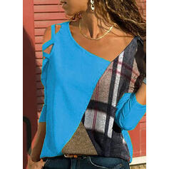 Color Block Plaid Cold Shoulder Long Sleeves Casual Blouses