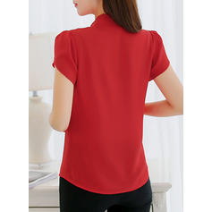 Solid V-Neck Short Sleeves Casual Shirt Blouses