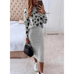 Print/Heart Long Sleeves Bodycon Casual Midi Dresses