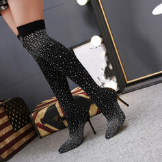 Women's PU Stiletto Heel Boots Over The Knee Boots Pointed Toe With Rhinestone Solid Color shoes