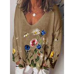 Floral Animal Print V-Neck Long Sleeves Casual Knit T-shirts