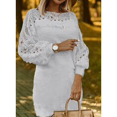 Solid Lace Round Neck Casual Long Sweater Dress