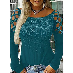 Solid Sequins Cold Shoulder Long Sleeves Casual Sexy Blouses