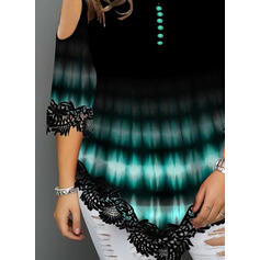 Tie Dye Round Neck 3/4 Sleeves Casual Plus Size Blouses