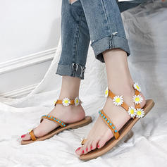 PU Flat Heel Sandals Flats Toe Ring With Flower shoes