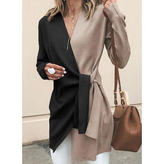 Color Block Long Sleeves Sheath Above Knee Casual Wrap Dresses