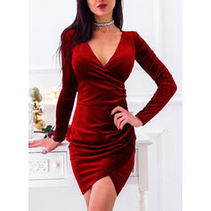 Solid Long Sleeves Bodycon Above Knee Little Black/Party Dresses