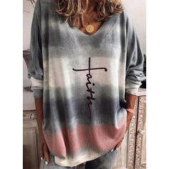 Print Tie Dye V-Neck Casual Sweaters