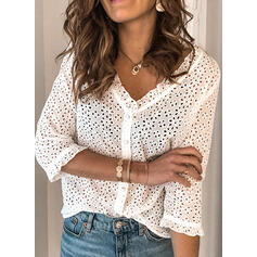 Solid V-Neck 3/4 Sleeves Button Up Casual Blouses