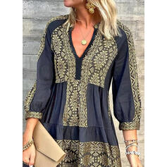 Print 3/4 Sleeves Shift Above Knee Casual Tunic Dresses