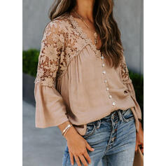 Solid Lace V-Neck Flare Sleeve Long Sleeves Button Up Casual Blouses