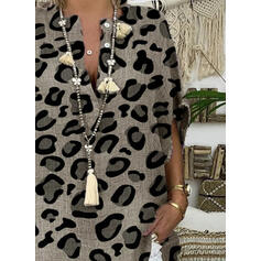 Leopard V-Neck 1/2 Sleeves Button Up Casual Blouses