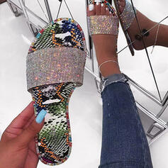 Women's PU Flat Heel Sandals Slippers With Sparkling Glitter shoes