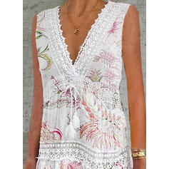 Lace/Print/Floral Sleeveless Shift Above Knee Casual Dresses