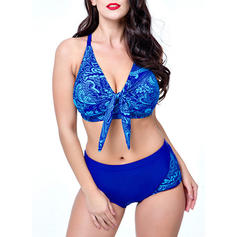 Solid Color Underwire Print Halter V-Neck Sexy Bikinis Swimsuits