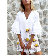 Sunflower Print 1/2 Sleeves/Flare Sleeves Shift Above Knee Casual/Vacation Tunic Dresses
