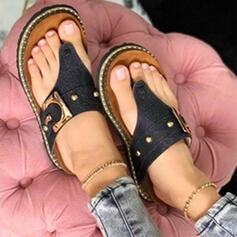 Women's Leatherette Flat Heel Sandals Peep Toe Flip-Flops Slippers With Buckle Hollow-out Solid Color shoes