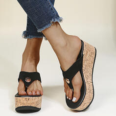 Women's PU Wedge Heel Sandals Flip-Flops Slippers Round Toe With Rivet Split Joint shoes