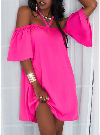 Solid 1/2 Sleeves Cold Shoulder Sleeve Shift Above Knee Casual Dresses