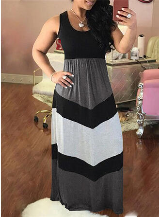 Plus Size Color Block Sleeveless A-line Maxi Casual Dress