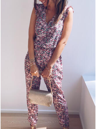 Floral Print V-Neck Sleeveless Casual Vacation Jumpsuit