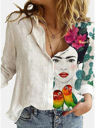 Print Floral Animal Lapel Long Sleeves Casual Blouses