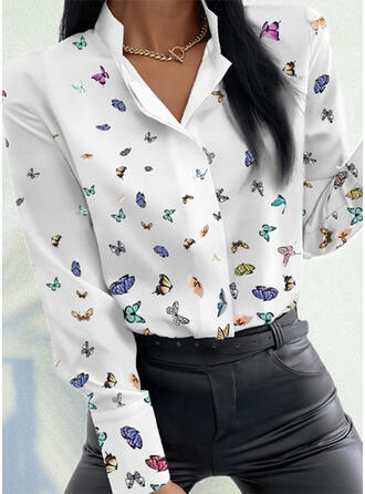 Print Butterfly Lapel Long Sleeves Casual Blouses