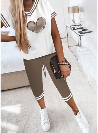Striped Color Block Print Heart Casual Plus Size Pants Two-Piece Outfits