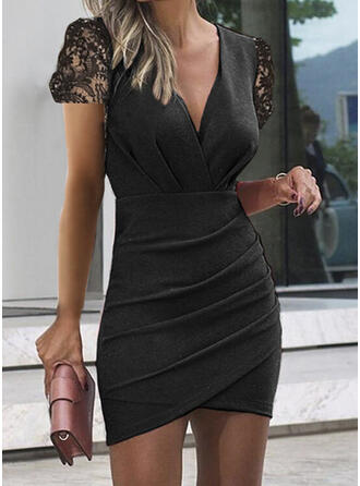 Solid Lace Short Sleeves Bodycon Above Knee Casual Dresses