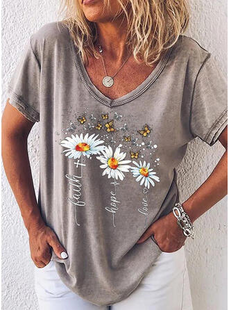 Animal Print Figure Floral V-Neck Short Sleeves T-shirts