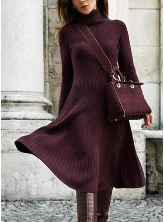 Solid Long Sleeves A-line Sweater/Skater Casual Midi Dresses