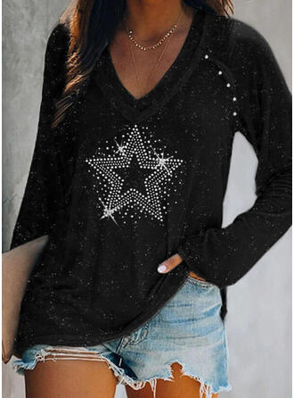 Beaded Sequins V-Neck Long Sleeves T-shirts