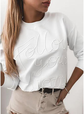 Figure Solid Round Neck Long Sleeves T-shirts