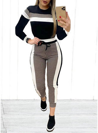 Plaid Color Block Casual Tee & Two-Piece Outfits Set