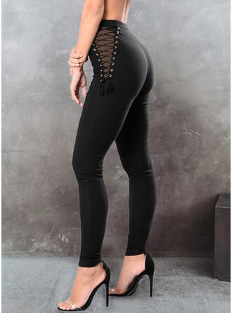 Solid Long Casual Sporty Lace Up Pants