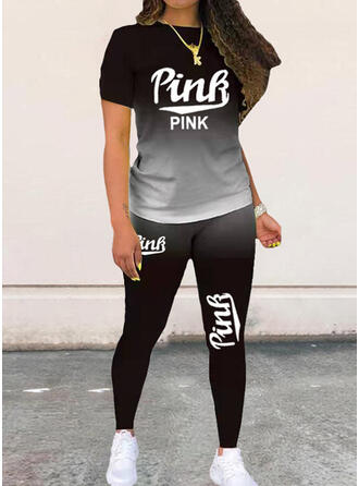 Letter Print Sporty Casual Plus Size Tee & Two-Piece Outfits Set