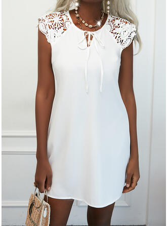 Solid Lace Short Sleeves Cap Sleeve Shift Knee Length Casual Dresses