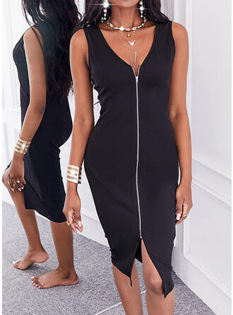 Solid Sleeveless Bodycon Knee Length Little Black/Casual Dresses