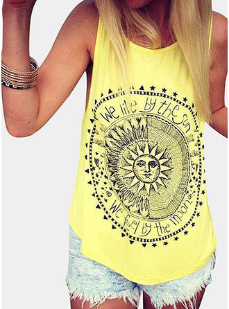 Figure Print Round Neck Sleeveless Tank Tops