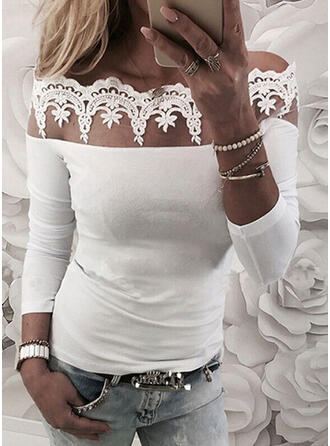 Lace Solid Off the Shoulder Long Sleeves T-shirts