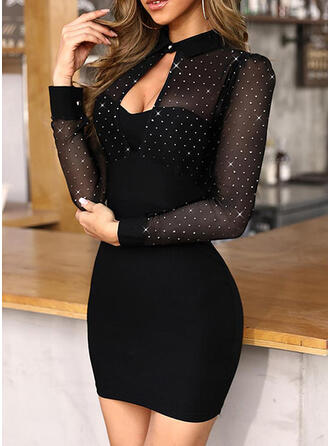Sequins/Solid Long Sleeves Bodycon Above Knee Little Black/Party Dresses