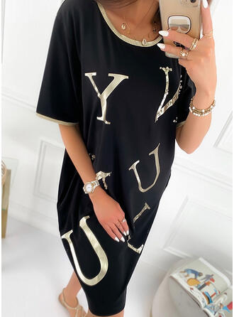 Print/Beaded 1/2 Sleeves Shift Knee Length Casual Tunic Dresses