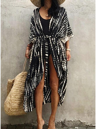 Gradient V-Neck Elegant Attractive Casual Cover-ups Swimsuits
