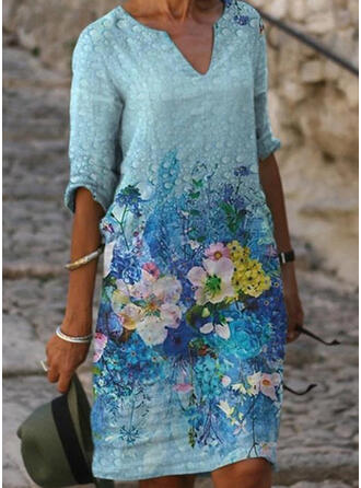 Print/Floral 1/2 Sleeves Shift Above Knee Casual Tunic Dresses