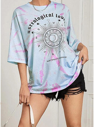Print Tie Dye Letter Round Neck 1/2 Sleeves T-shirts