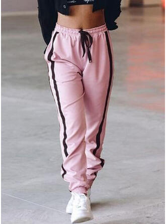 Shirred Drawstring Long Casual Sporty Pants