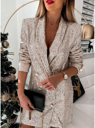 Sequins/Solid Long Sleeves Sheath Above Knee Party/Elegant Dresses