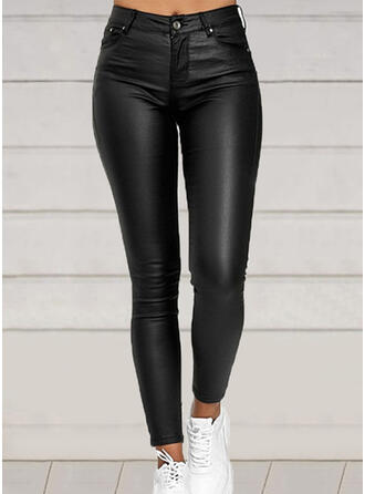 Solid PU Long Sexy Plus Size Pocket Button Pants