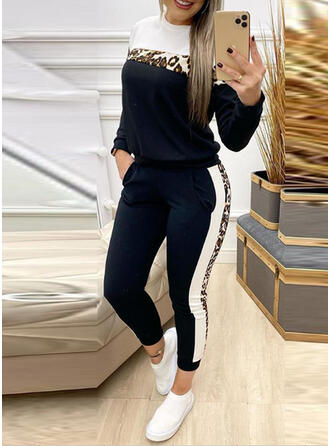 Patchwork Shirred Leopard Casual Sporty Suits
